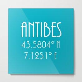 Antibes Latitude Longitude Metal Print