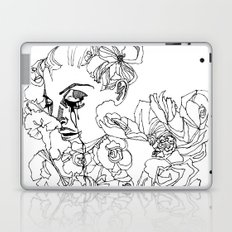 When the Petals Start Pouring Black & White Laptop & iPad Skin