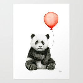 Panda and Red Balloon Baby Animals Watercolor Art Print