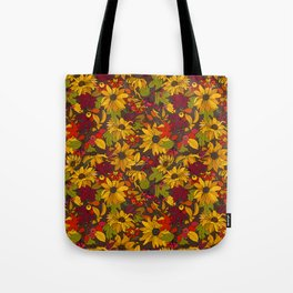autumn flowers and leaves Tote Bag