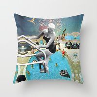 hippy Throw Pillows featuring Happy Hippy Hippo by Eugenia Loli