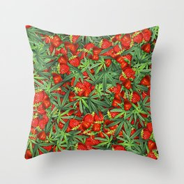 Cannabis and Strawberry Marijuana Floral Pattern Throw Pillow