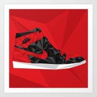 "air jordan Art Prints featuring Air Jordan 1 ""Banned"" by Sam Londono"