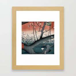 botanical ukiyo-e painting nature garden spring japanese plum flower Framed Art Print