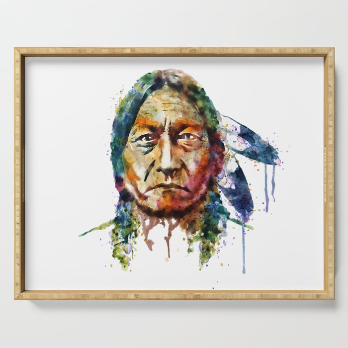 Sitting Bull watercolor painting Serving Tray