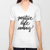 positive V-neck T-shirts featuring POSITIVE by Henrique Nobrega