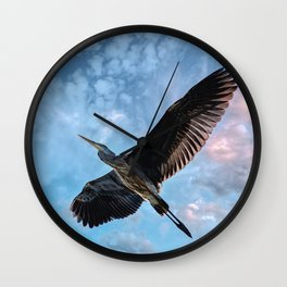 Great Blue Heron Soaring Wall Clock