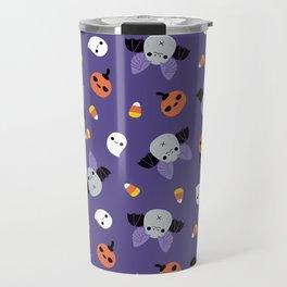 Purple Kawaii Halloween Bat Pattern Travel Mug