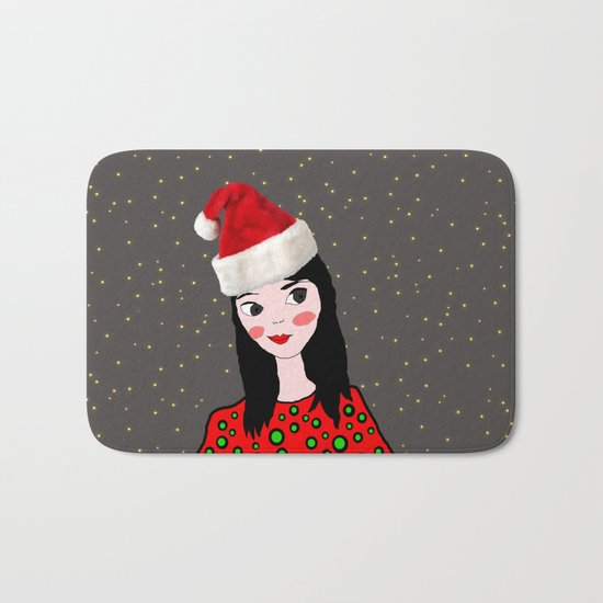 Christmas with you | Kids Painting | Only Love by Elisavet Bath Mat