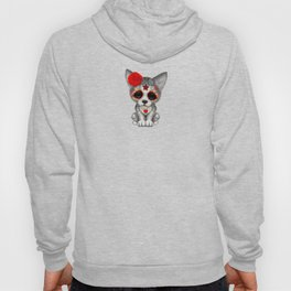 Red Day of the Dead Sugar Skull Wolf Cub Hoody