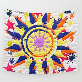 Colorful Quilted sun pattern Abstract Wall Tapestry