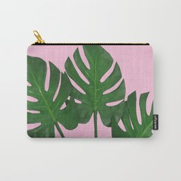 Green Monstera Plants In Pink  Carry-All Pouch