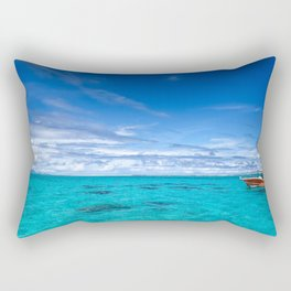 South Pacific Crystal Ocean Dreamscape with Boat Rectangular Pillow
