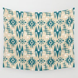Mid Century Modern Atomic Space Age Pattern Beige Green Wall Tapestry