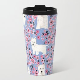 Westie cherry blossoms west highland terrier cutest fluffy white dog breed pattern art Travel Mug