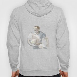 Rugby Player Running Low Polygon Hoody