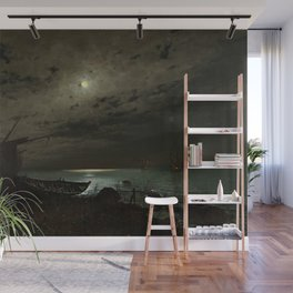 The Far Place Under Moonlight landscape painting by Magnus Munsterhjelm Wall Mural