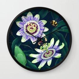 Passion Flower Vine Wall Clock