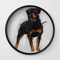 rottweiler Wall Clocks featuring Rottweiler by Kendra Aldrich