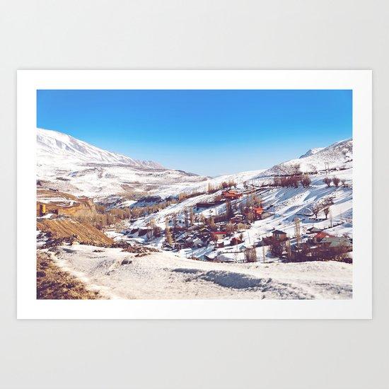 Snowy Village 1 Art Print