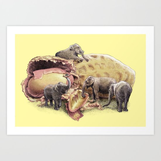 Elephant's Paradise (colour option) Art Print