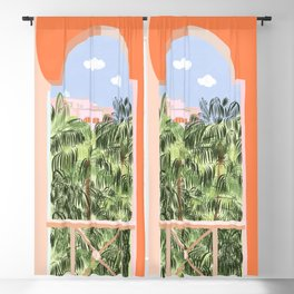 Summer Travel #illustration #tropical Blackout Curtain