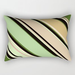 Striped pattern, diagonal.Brown, beige, green ,black stripes. Rectangular Pillow