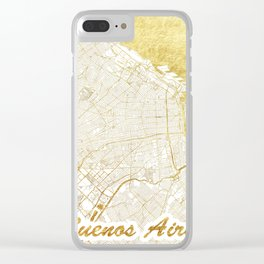 Buenos Aires Map Gold Clear iPhone Case