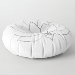 Silver Foil Lotus Flower Floor Pillow