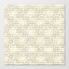 Inspirational Words Gold Canvas Print
