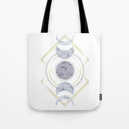 Marble Moon Phases Tote Bag