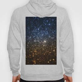 Galaxy Sparkle Stars Blue to Golden Bronze Ombre Hoody