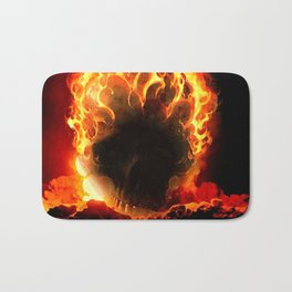 The Fire Burning Skull Bath Mat