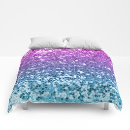 Bright Blue Purple Glitters Sparkling Pretty Chic Bling Background Comforters