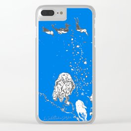 Two Tailed Duck and Jellyfish Royal Brilliant Blue Clear iPhone Case