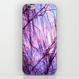Pink Lavender Sky Through Wispy Trees iPhone Skin