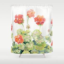 Geranium Watercolor  Shower Curtain