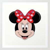 minnie mouse Art Prints featuring Minnie Mouse by Yuliya L