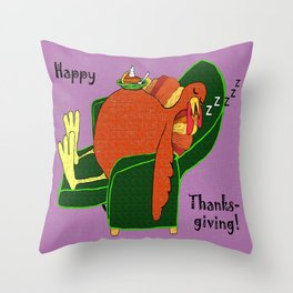 Sleeping Turkey with Pumpkin Pie Throw Pillow