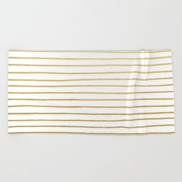 Gold Paris Stripe Pattern Beach Towel