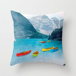 Canadian Canoes Throw Pillow