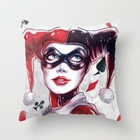 harley Throw Pillows featuring Harley Quinn NYCC 2014 by fabvalle