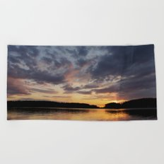 Spring Sunset - beautiful colors and reflections - cloudy sky Beach Towel