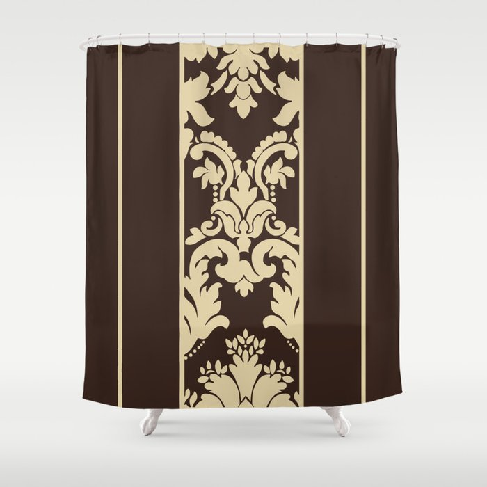 Brown Deco Damask Shower Curtain