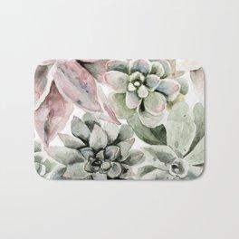 Circular Succulent Watercolor Bath Mat