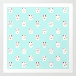 Lucky happy Japanese cat pattern Art Print