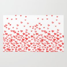 Hearts - Valentines Glitter Hearts in pink on white background for trendy girls valentines day Rug
