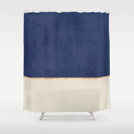 Navy Blue Gold Greige Nude Shower Curtain