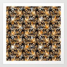 Aztec Pattern Orange Art Print