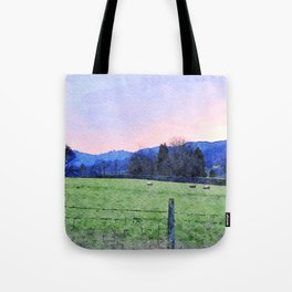 Sheep on the farm at Dawn in Grasmere,Lake District, UK Watercolour Painting Tote Bag